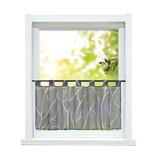 ESLIR Scheibengardine modern Bistrogardine Küche Gardinen Transparent Vorhänge mit Schlaufen Kurzgardine Voile Grau HxB 45x90cm 1 Stück