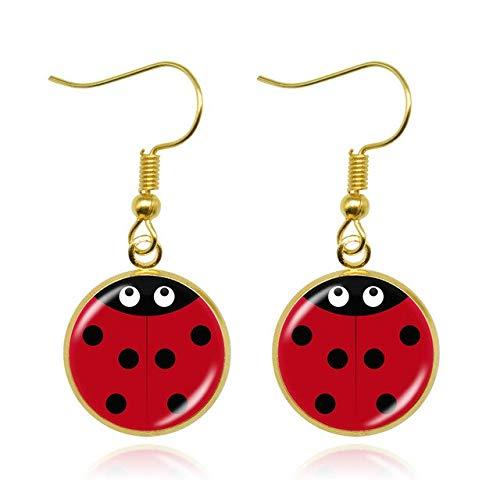 SALAN Ladybug Insecto Plateado Pendientes Joyería Linda Ladybug Pendientes De Gota para Mujeres Girls Mano Artesanía Regalos De Joyería 1 Par