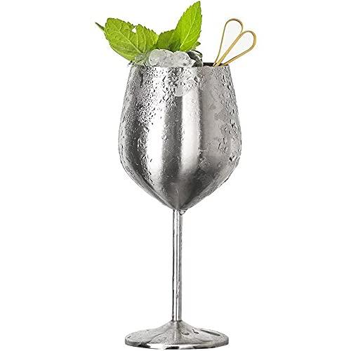 Hermosas copas de metal, a prueba de roturas, copas de cóctel de vino tinto blanco, copas de jugo, bebidas, copas de champán, fiestas de barware (500 ml, plata)