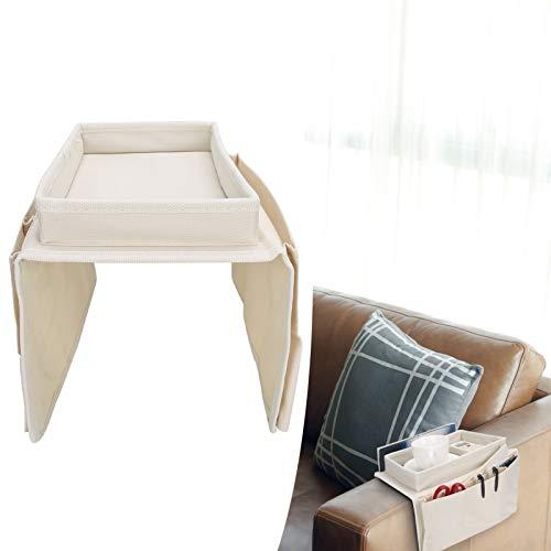 BOLORAMO Bolsa de Almacenamiento de sofá, Soporte de Almacenamiento de sofá Impermeable y Duradero multifunción para Oficina para bocadillos(Beige)