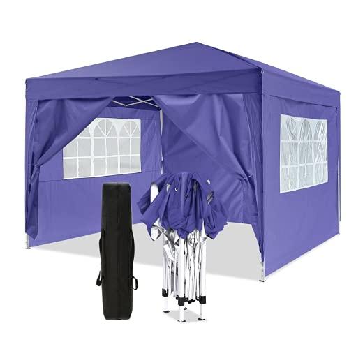 3x3M Pavillon Pop-up Zelt Outdoor Garden Hochleistungs-Pavillon mit 4 Seitenwänden, 210D wasserdichte Abdeckung (Lila, 3x3M)