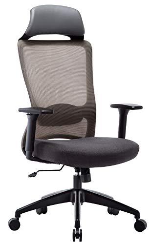 Amoiu Bürostuhl aus Stoff, Ergonomischer Drehstuhl mit Kopfstütze und Verstellbarer Lordosenstütze, Schreibtischstuhl mit Armlehnen für Soho- oder Büroarbeit,(Grau-Kopfstütze)
