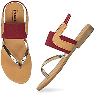 Denill Women and Girls Ankle Strap Fashion Sandal with T Strap Slip on Slippers