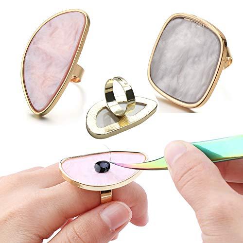 GBSTORE - Paleta de mezcla de colores de resina con anillos de dedo ajustables, anillo de extensión de pestañas, anillos de pegamento para uñas falsas para dibujo, paleta de colores de uñas, equipo de arte de uñas (rosa y blanco)