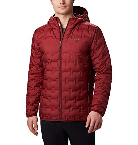 Columbia Delta Ridge, Chaqueta de plumas con capucha, Hombre, Rojo (Red Jasper), Talla XXL