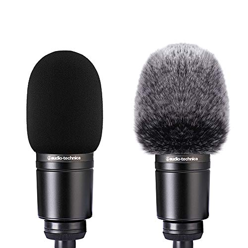 2pcs Microphone Foam Cover + Furry Windscreen Wind Muff Compatible with Mic Audio Technica AT2020 ATR2500 AT2035 AT2050 AT4040 Cardioid Condenser Microphone Noise Reduction