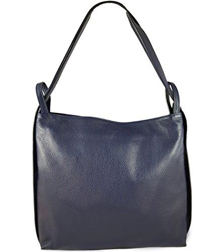 Freyday 2in1 Damen Handtasche Rucksack Designer Luxus Henkeltasche aus 100% Echtleder (Dunkelblau)