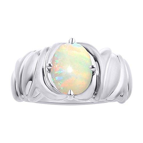 Juego de anillo de ópalo solitario en plata de ley – Anillo de piedra de nacimiento de color