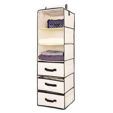 StorageWorks Hanging Closet Organizer, Foldable Closet Hanging Shelves with 2 Drawers & 1 Underwear Drawer By, Polyester Canvas, Natural, 6-Shelf, 13.6x12.2x42.5 inches