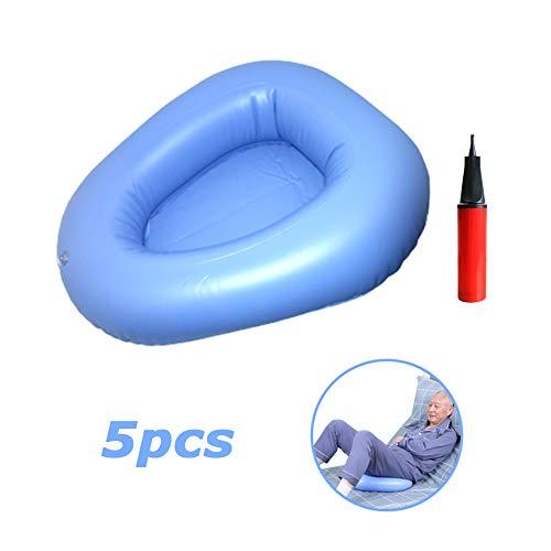 Blaue Inflations-Bettpfannen, tragbare Altenpflegebettpfanne mit Pumpe, bettlägerige Toilettenhilfe, ideal für behinderte und schwangere Frauen,5pcs