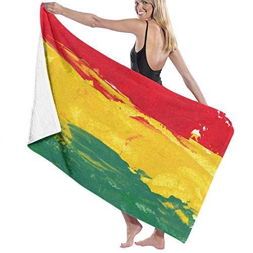 Leo-Shop Microfibra Suave Ducha Grande Toallas de baño Toallas de Playa Toallas de baño Toallas de baño Color Marley Reggae Colores Verde Bob Rasta Bandera de Jamaica Jamaica