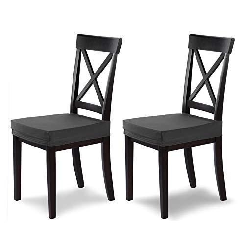 SCHEFFLER-Home Marie 2 Fundas para Asiento de sillas, Estirable Cubiertas hidrófugo, Funda con Banda elástica, Gris