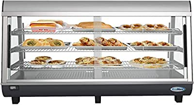 "KoolMore Commercial 48"" Countertop Food Warmer Display Case Merchandiser with LED Lighting and Front Sliding Door - 6.5 cu.ft."