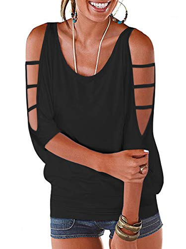 LEIYEE Womens Summer Black Cold Shoulder Tops 3/4 Sleeve T Shirts Pullover Casual Dolman Blouses