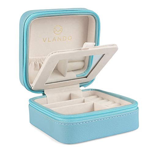 Vlando Small Travel Jewelry Box Organizer - Display Case for Girls Women Gift Rings Earrings Necklaces Storage with Mirror, Blue