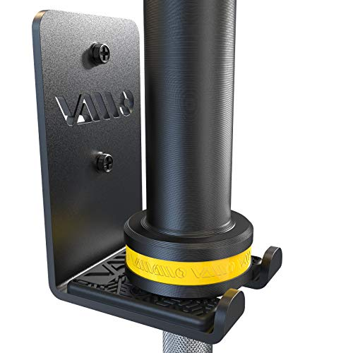 VAIIO Single Olympic Barbell Hanger,Garage Gym Bar Wall Rack,Vertical Barbell Mount Rack,Black Powder Coated,Space Saving Commercial or Home Gym Accessory,Holds Under 33mm Bar Size