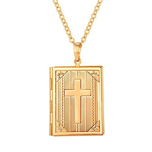 U7 18k vergoldet Rechteck Anhänger Bibel Kreuz Bild Foto Medaillon Halskette Amulett Geschenk Kettenanhänger zum Öffnen für Bilder