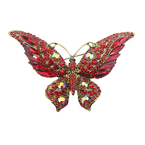 Broche De Mariposa Grande Retro Con Personalidad De Moda Animal Insecto Dama Broche Chaqueta De Punto Accesorios-Rojo