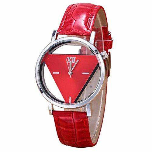 BAULMD Herren Armbanduhr Lederarmbanduhren, Analog Chronograph Uhr Dreieck Punk Rock Männer Uhr, Wasserdicht mit Quarz Lässige Uhrengeschenke, Leder Armband (Rot)