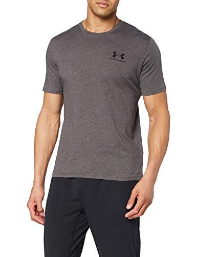 Under Armour Men's Sportstyle Left Chest Short Sleeve T-shirt , Charcoal Medium Heat (019)/Black , Large