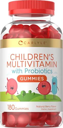 Carlyle Children's Multivitamin Gummies with Probiotics   180 Chewables   Natural Berry Flavor   Vegetarian, Non-GMO, Gluten Free Kids Supplement