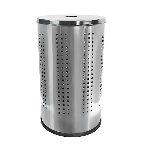 Krugg Stainless Steel Laundry Bin & Hamper   46L Ventilated Stainless Steel Clothes Basket with Polished Lid Life Time Warranty  (Polished Stainless Steel)