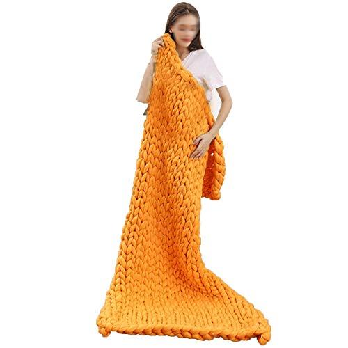 QWERTYUKJ Manta de punto grueso para cama, sofá, sofá, supersuave, hecha a mano, poliéster, para regalo, hermosa decoración de dormitorio (color: naranja, tamaño: 120 x 150 cm)