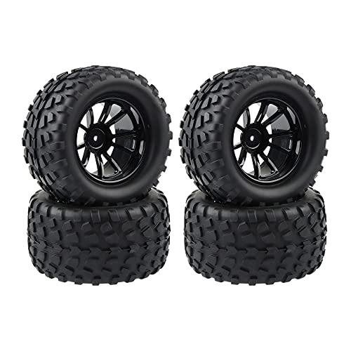 4X RC 1/10 Scale Monster Truck Tires Gravel Tread w/ 5 Spokes Wheel Rim Black RC Parts for Traxxas...