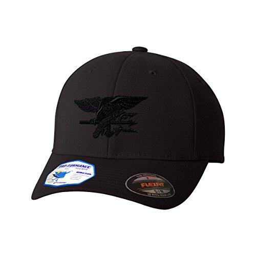 Navy Seal Black Logo Flexfit Adult Pro-Formance Branded Hat Black Large/X-Large