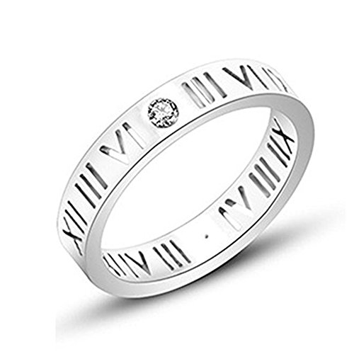 jinshiyinyu CZ de acero inoxidable números romanos anillo para las mujeres niñas, bañado en oro rosa/plata, tamaño 4–9