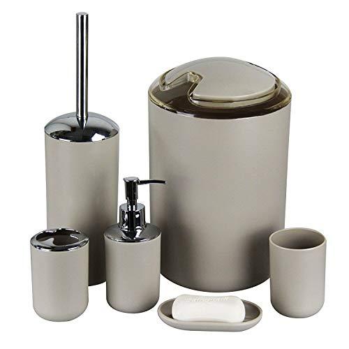 GMMH Set di 6 accessori da bagno, con dispenser per sapone, portasapone e scopino per WC. Beige Design 3