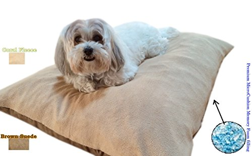 ehomegoods Durable Comfort Micro-Cushion Memory Foam Pet Dog Pillow Bed with Waterproof Liner + External Cover for S,M,L Dogs- Complete Set (Beige Coral Fleece, 36''x29'')
