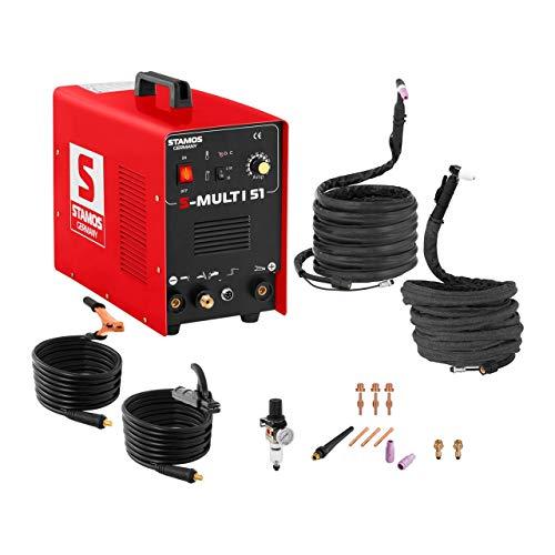 Stamos - Schweißgerät Kombi WIG TIG MMA Plasmaschneider Inverter (180 A, 230 V, 8 mm Schweißstärke, Powerventilatoren, 43 x 32 x 20,50 cm + Zubehör) Rot