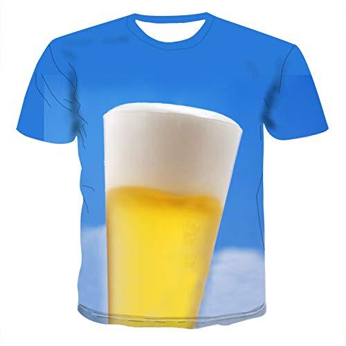 NSBXDWRM 3D Printed Shirts,Unisex 3D Gedrukt Creatief Carnaval Bier Festival Grafische Korte mouw Zomer Mode afdrukken Casual Zachte Comfortabele T Shirt Voor Mannen Tee