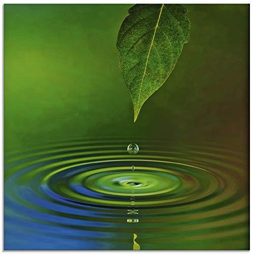 Artland Glasbilder Wandbild Glas Bild einteilig 20x20 cm Quadratisch Natur Wellness Zen Entspannung Wasser Wassertropfen Blätter Grün T5TK