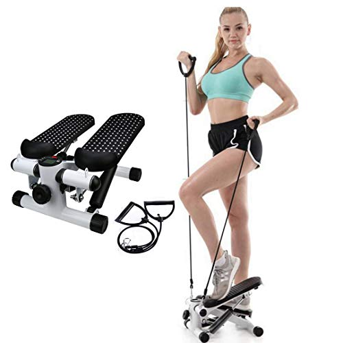 Premium Adjustable Mini Stair Stepper Exercise Equipment,Portable Step Machine with Resistance Bands,Easy Storage, Cardio Workout Fitness Home Exercise Workout, Weight Loss Gift for Women Girls