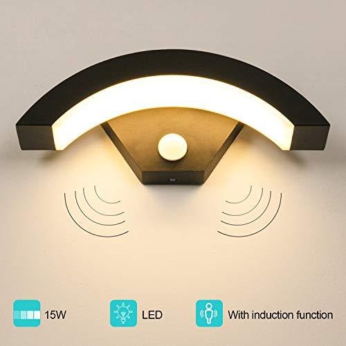 LEDMO Außenleuchte mit Bewegungsmelder 15W Wandleuchte Aussen 3000K IP55 Außenlampe Anthrazit geeignet für Balkon, Garten und Flur.
