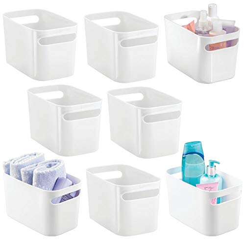 mDesign Deep Plastic Bathroom Vanity Storage Bin with Handles - Organizer for Hand Soap, Body Wash, Shampoo, Lotion, Conditioner, Hand Towel, Hair Brush, Mouthwash - 10 Inches, 8 Pack - White