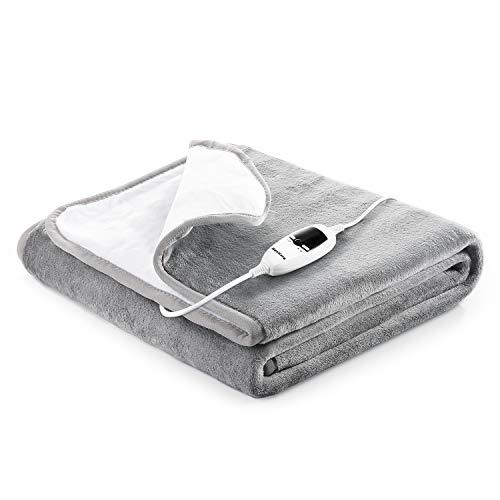 Heizdecken fürs Bett mit Abschaltautomatik(10h) Überhitzungsschutz 150x80cm Flanell Wärmeunterbett mit 7 Temperaturstufe Elektrische, Waschbar