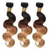 FEEL ME Ombre Brazilian Hair Bundles 1B/4/27 3 Tone Ombre Hair Bundles Body Wave Ombre Human Hair Weave 3 Bundles 10 12 14 Unprocessed Brazilian Virgin Hair Extension Blonde Ombre Hair Weaving