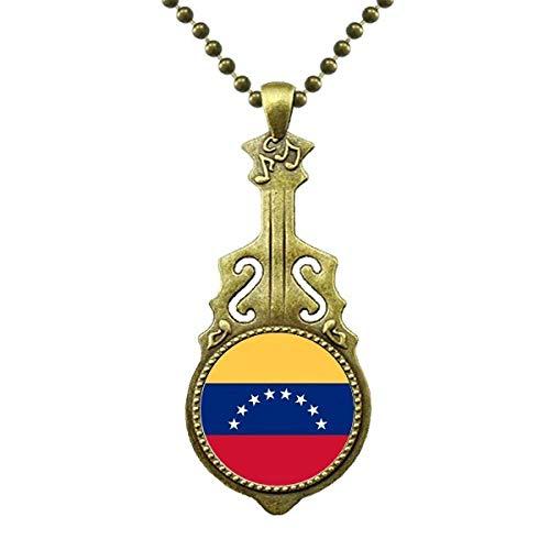 Venezuela National Flag South America Land - Collar con colgante de guitarra antigua