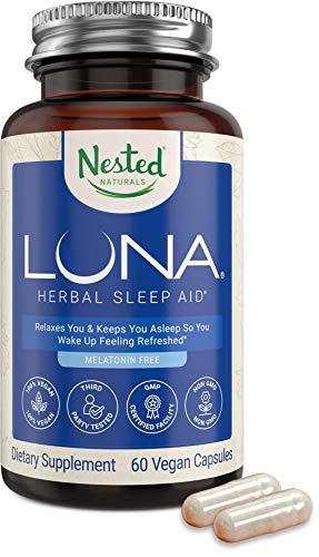 Luna Melatonin-Free Natural Sleep Aid for Adults | Herbal Nighttime Sleeping Capsule for Easy Calm Deep Sleep | Valerian Root with Chamomile, Lemon Balm | Non-GMO, Gluten-Free