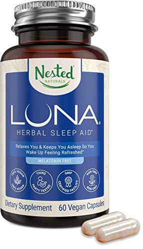 Nested Natural Luna Sleep Aid Supplement Melatonin-Free | Natural Sleeping Pills for Adults | Fall Asleep Faster & wakeup Feeling Refreshed Valerian Root with Chamomile Lemon Balm Non-GMO Gluten-Free