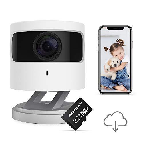 Azarton WiFi Kamera, 1080p HD WLAN IP Kamera Smart Home Innen Überwachungskamera Kamera mit Nachtsicht, Micro-SD Speicherkarte 32 GB Klasse 10, Azarton C1