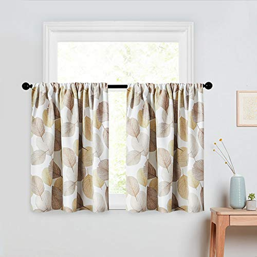 MRTREES Leaves Printed Tier Curtains 36 inch Room Darkening Kitchen Tiers Bathroom Short Curtain Taupe Leaf Print Triple Weave Cafe Curtains Basement Half Window Treatment 2 Panels Rod Pocket