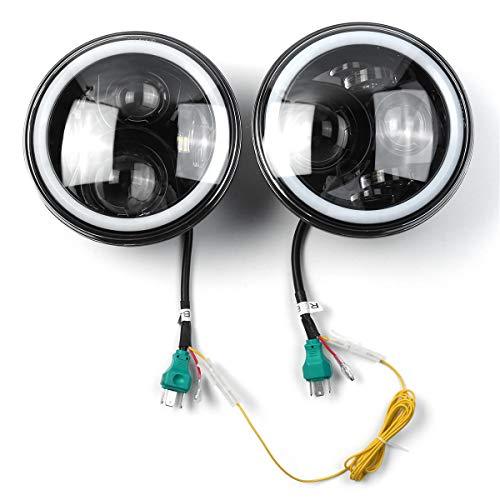 LICHONGUI Par 7 Pulgadas 19 RGB LED Faros del Coche IP67 Lámpara incorporada Cambio automático Halo Angel Ojos para el Jeep Wrangler Landrover Defender Hummer