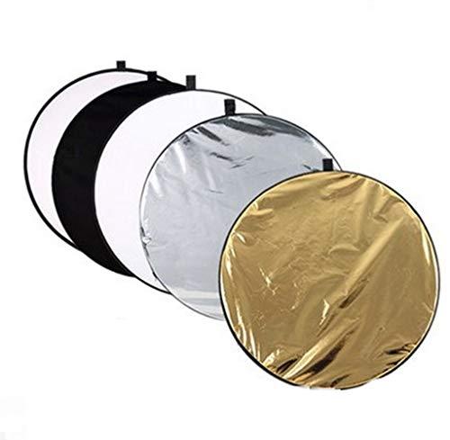 Camera Accessoires-LiuJF Fotografische Reflector Vijf in Een 80CM Opvouwbaar Goud, Zilver, Wit En Zwart Doorschijnend Studio Portret Stilleven Voedsel Diffuser, 80CM