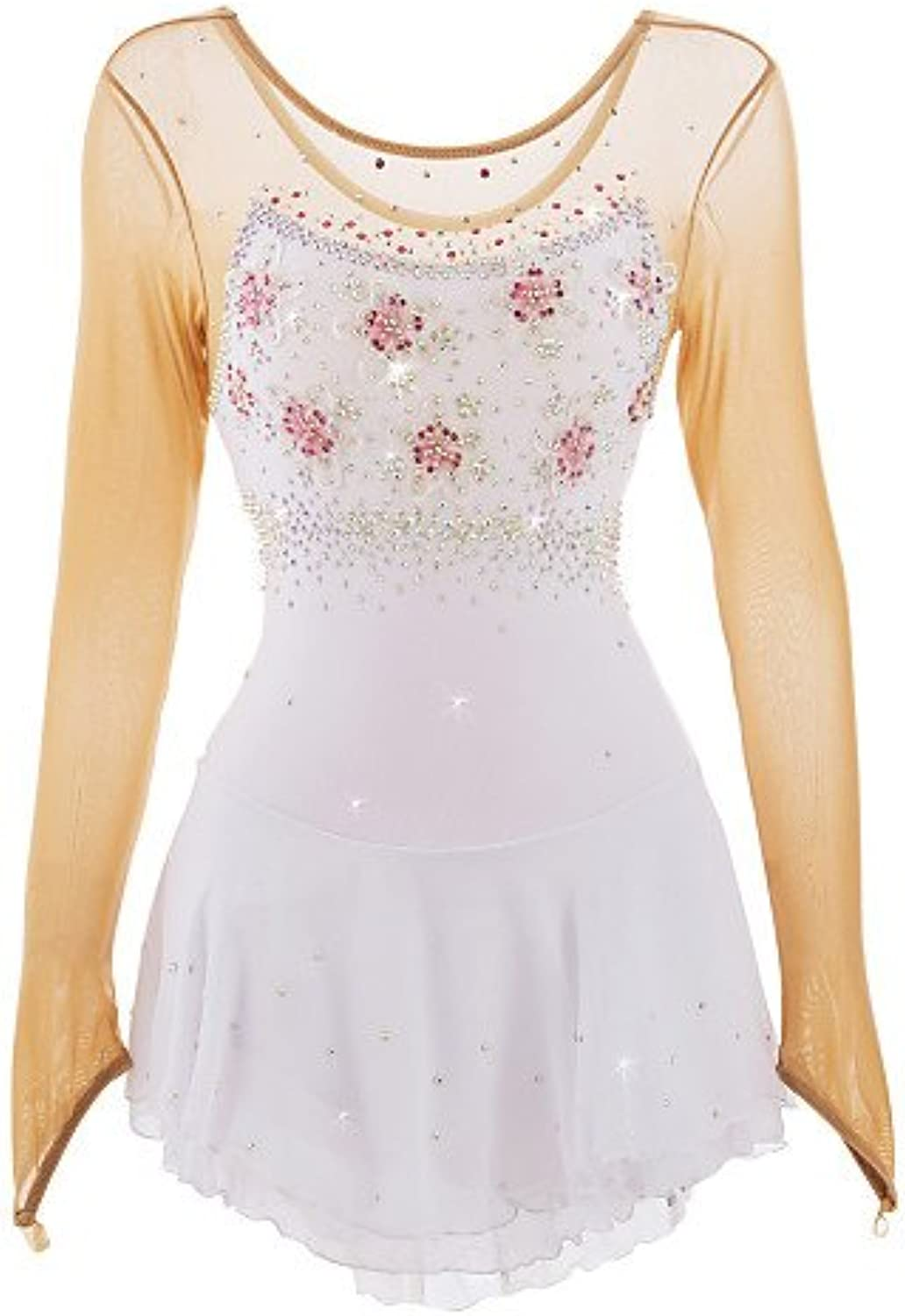 Ice Skating Dress for Girls Women Figure Skating Competition Costume Skating Leotards Crystals Applique Long Sleeved White
