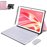 Tablet WiFi 4G 10.1 Pulgadas, 2 in 1 Tablet con Teclado 4GB RAM+ 64GB ROM /128GB Escalables, Android 10 Tablet PC Quad-Core 8MP, 8000mAh Dual SIM/OTG/Bluetooth Tablet con Teclado y Raton (Rosa)