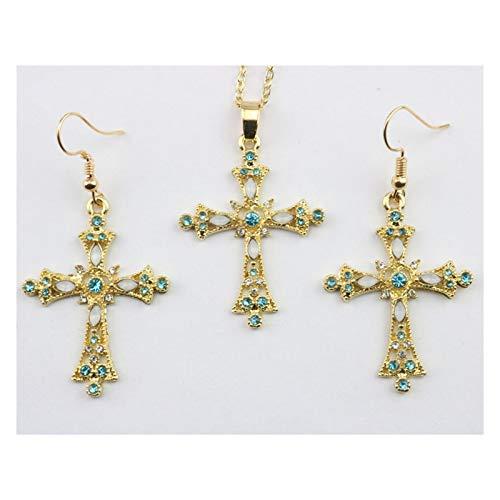 DSJTCH Pendientes Colgantes de la Cruz Europea y Americana para Construir la joyería de la Presa Set Collar el oído (Color : D)